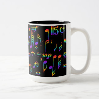 Color of Music Rainbow Notes Collage on Black Two-Tone Coffee Mug