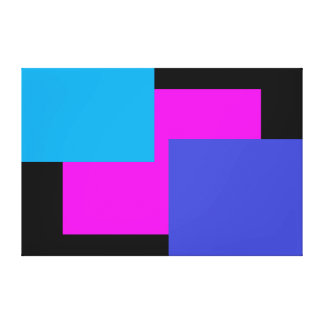 Color on Color Pop Art Minimalism Fuchsia Black Stretched Canvas Prints