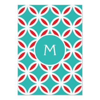 COLOR PALETTE:   turquoise, teal, aqua blue, red, 13 Cm X 18 Cm Invitation Card