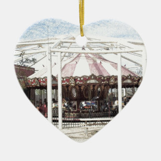 Color Pencil Sketch of Antique Carousel Ceramic Heart Decoration