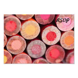 Color Pencils 9 Cm X 13 Cm Invitation Card
