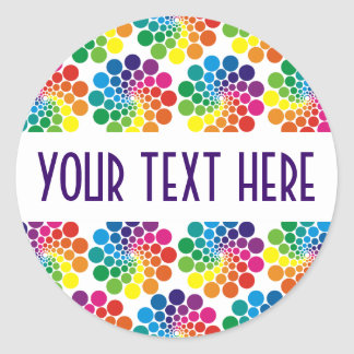 Color Points Circle Pattern + your backgr. & text Classic Round Sticker