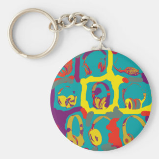color pop art dj headphones basic round button key ring