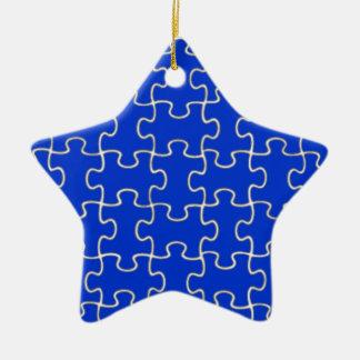 color puzzle pieces ceramic ornament