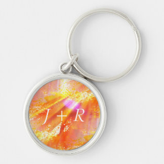 color seamless art background yellow, orange Silver-Colored round key ring