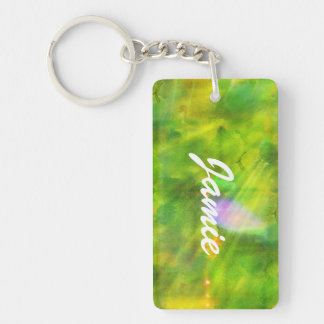 color seamless background green, yellow Double-Sided rectangular acrylic key ring