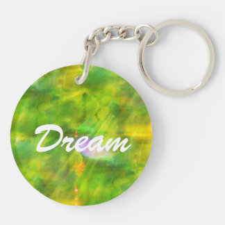 color seamless background green, yellow Double-Sided round acrylic key ring