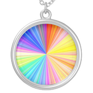 Color Shade Wheel - Rainbow Extreme Silver Plated Necklace