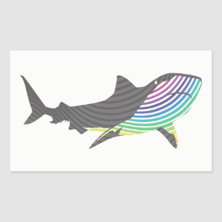 Color Shark Swirl Rectangular Sticker