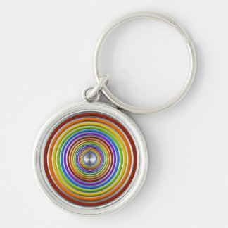 Color Spectrum Rainbow Bullseye Silver-Colored Round Key Ring