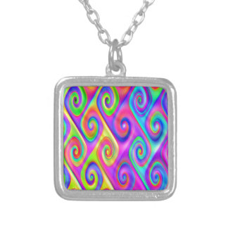 Color Spiral Alpgorithmic Pattern Silver Plated Necklace