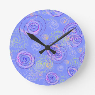 Color Spirals Clock, Periwinkle Round Clock