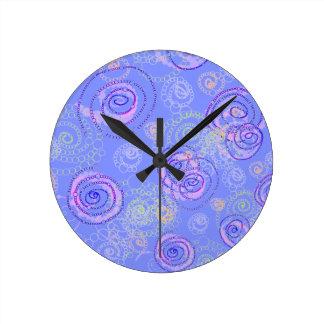 Color Spirals Clock, Periwinkle Wall Clocks