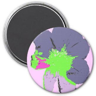Color Splash/ PopArt Flower 7.5 Cm Round Magnet