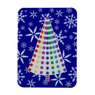 Color Spray Christmas Tree on Snowflake Blizzard Rectangular Photo Magnet