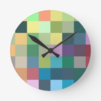 color squares background abstract geometric patter round clock