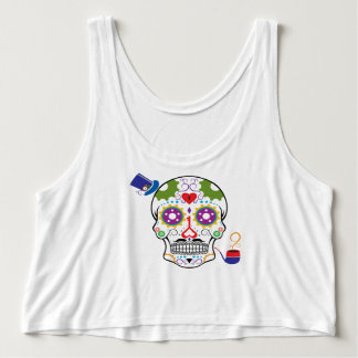 Color Steampunk Sugar Skull Singlet