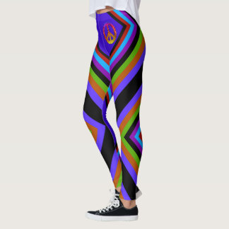 Color Striped Peace Leggings