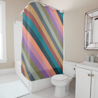 Color stripes in colorful pastel shower curtain