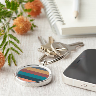 color stripes in colorful pastel Silver-Colored round key ring