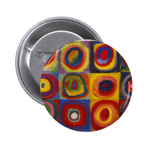 Color Study Squares with Concentric Circles Pin