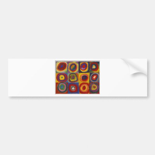 Color Study Squares with Concentric Circles Bumper Sticker
