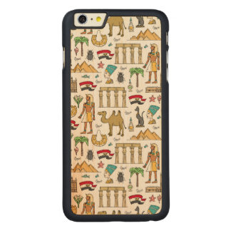 Color Symbols of Egypt Pattern Carved Maple iPhone 6 Plus Case