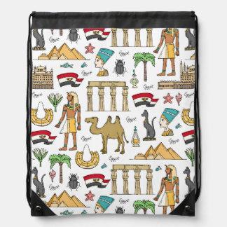 Color Symbols of Egypt Pattern Drawstring Bag