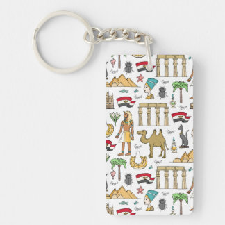 Color Symbols of Egypt Pattern Key Ring