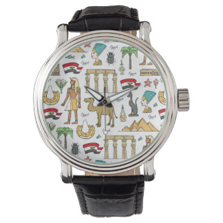 Color Symbols of Egypt Pattern Watch