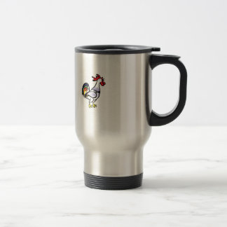 color tail rooster yeah travel mug