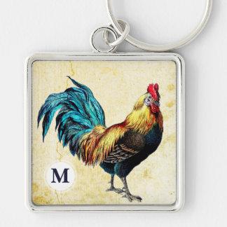 Color Vintage Rooster Monogram Square Keychain