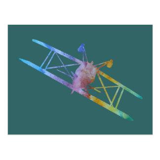 Color-washed Upside Down Stunt Plane Postcard