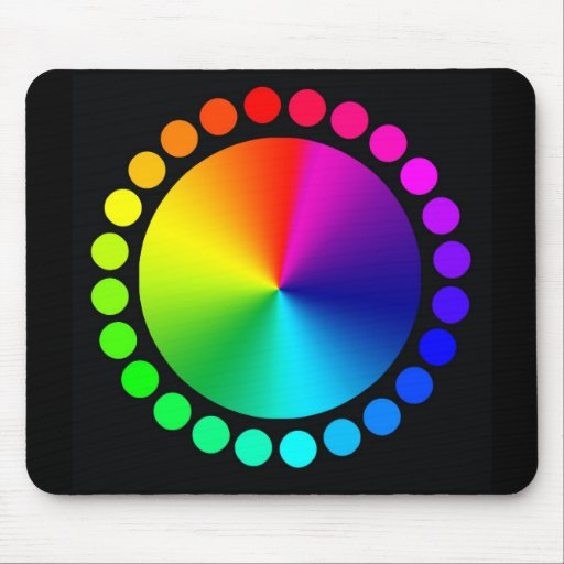 Color Wheel on black Mouse Pads