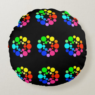 Color Wheel Pillow, Black Round Cushion