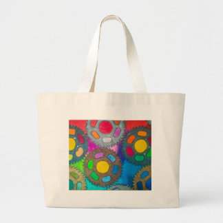 color wheels abstract painting jumbo tote bag