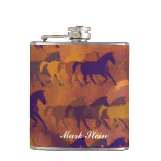 color whisky horses hip flask