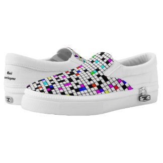 Color & white squares slip on shoes