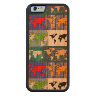 color world maps on wood cherry iPhone 6 bumper