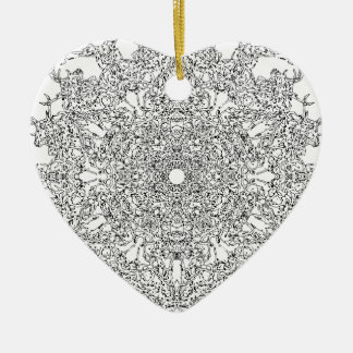 Color Your Clothes - Black and White Supernova Ceramic Heart Decoration