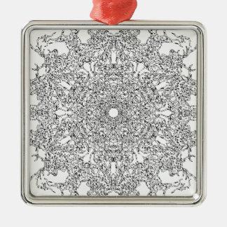 Color Your Clothes - Black and White Supernova Silver-Colored Square Decoration