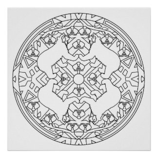 Color Your Own Bears Mandala Coloring Poster
