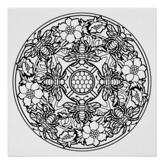 Color Your Own Bees Mandala Coloring Poster