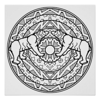 Color Your Own Black Bears Mandala Coloring Poster