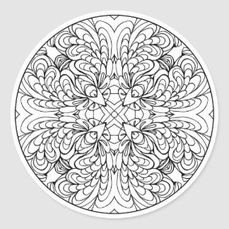 Color Your Own Coloring Book Design Abstract Classic Round Sticker