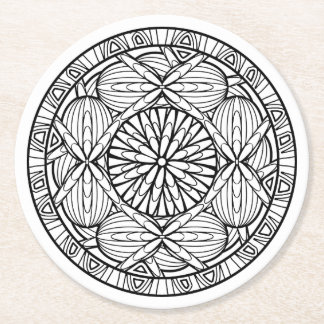 Color Your Own Coloring Book Design Complex Colour Round Paper Coaster