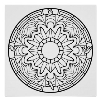 Color Your Own Doves Mandala Coloring Poster