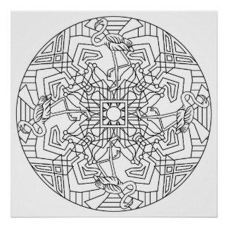 Color Your Own Flamingo Mandala Coloring Poster