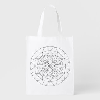 Color-Your-Own Geometric Floral Mandala  060517_2 Reusable Grocery Bag