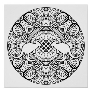 Color Your Own Kangaroos Mandala Coloring Poster